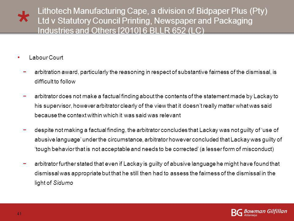 Lithotech Manufacturing Cape, a division of Bidpaper Plus (Pty) Ltd v Statutory Council Printing, Newspaper and Packaging Industries and Others [2010] 6 BLLR 652 (LC)